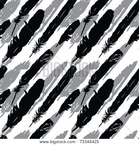 seamless pattern with silhouettes of plumes