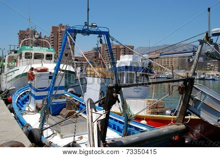 Traditional Spanish fishing trawlers, Fuengirola.