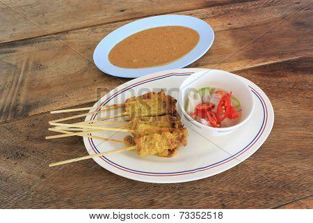 Asian food - Pork Satay with Peanut Sauce