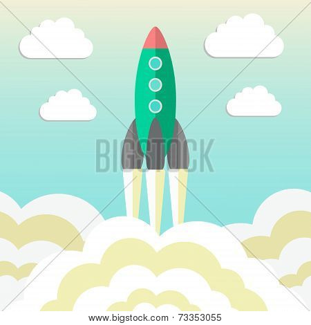Rocket Takes Off And Concept Of Startup Business