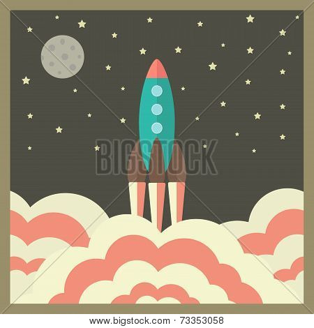 Rocket Takes Off At Night And Business Startup Concept In Retro Style