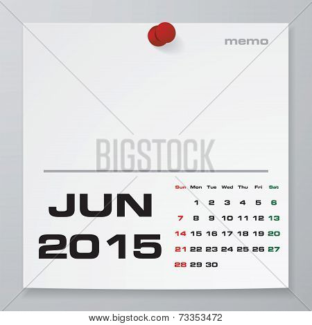 Simple 2015 year vector calendar : June 2015