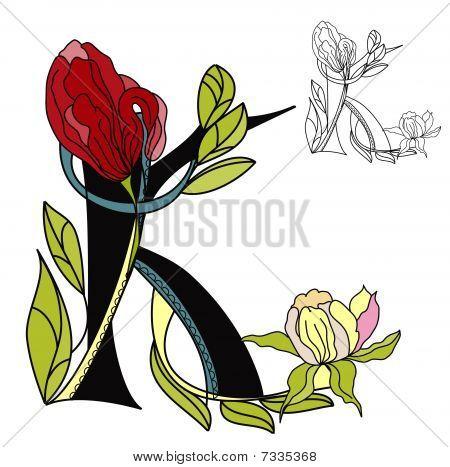 Floral font. Letter K
