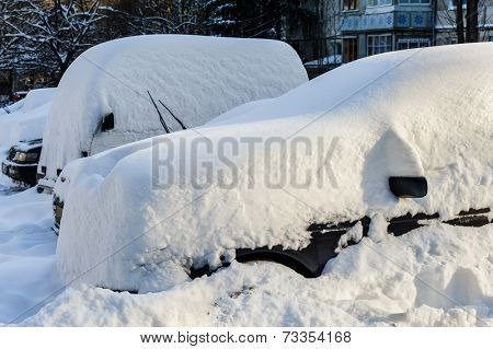 vehicles covered with snow