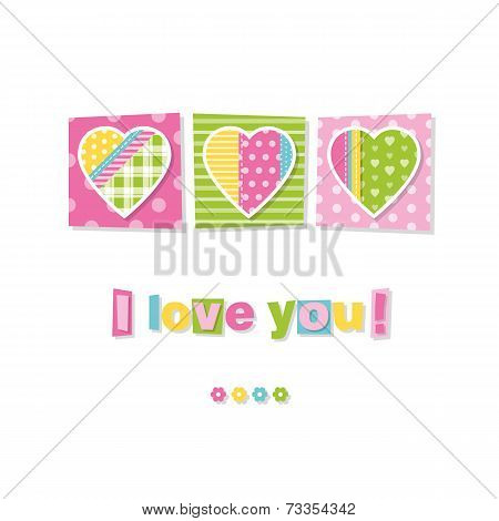 three hearts I love you card
