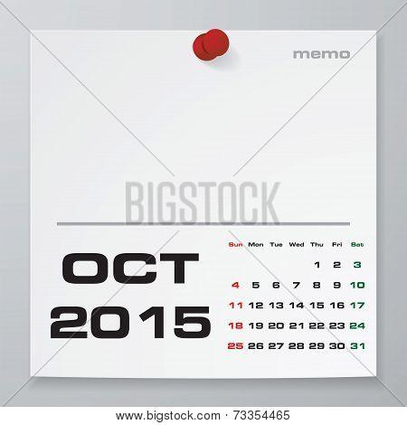Simple 2015 year vector calendar : October 2015