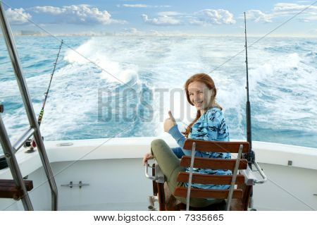 Fisher woman Big Game On Boat Chair Ok Sign