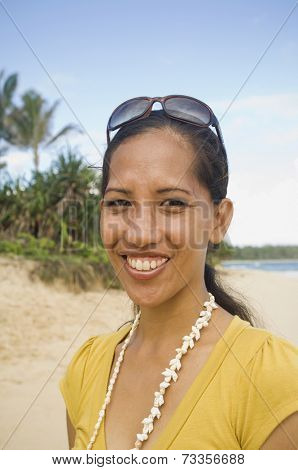 Pacific Islander woman at beach