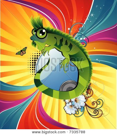 cartoon lizard vector background