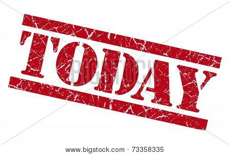 Today Red Square Grunge Textured Isolated Stamp