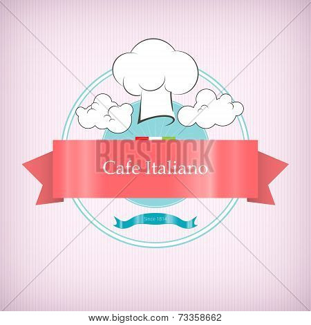 Cafe logo icon with toque in the clouds,vector illustration