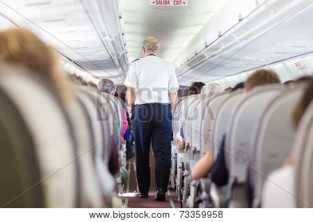 Pilot on the airplane.