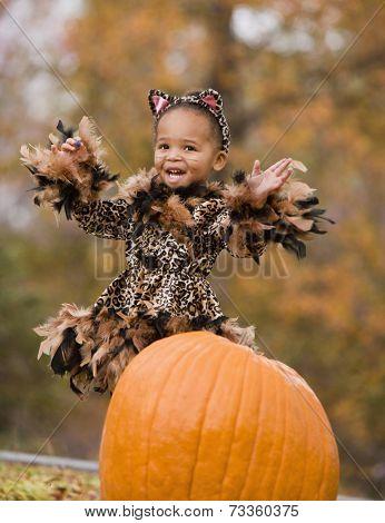 African girl in Halloween costume