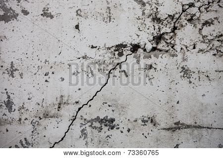 Cracked Whitewashed Wall With Rich And Various Texture