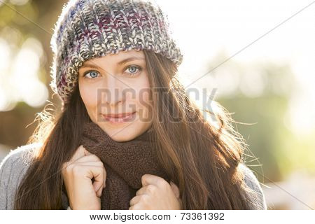 Autumn fall portrait of a beautiful woman