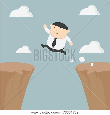Fat Businessman Jumping Over Gap