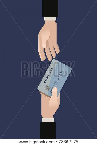 A hand giving a credit card another hand. Flat vector illustration.