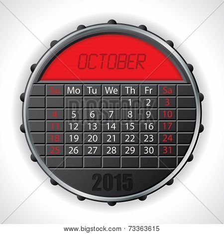 2015 October Calendar With Lcd Display
