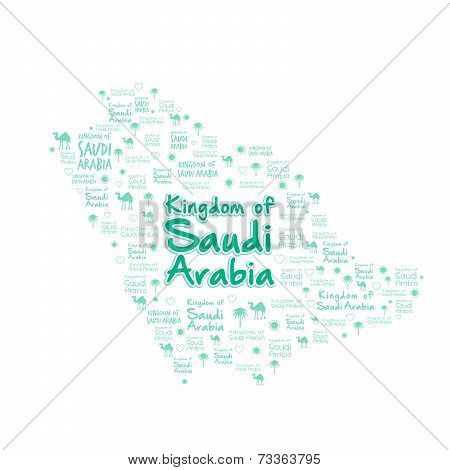 Saudi Arabia Map with Beautiful Pattern