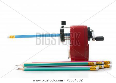 Red Color Metal Pencil Sharpener Isolated