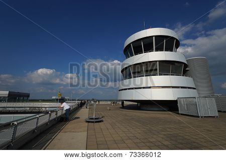 DUSSELDORF - SEPTEMBER 16: control tower on September 16, 2014 in Dusseldorf, Germany. International airport of Dusseldorf located approximately 7 kilometres north of downtown Dusseldorf
