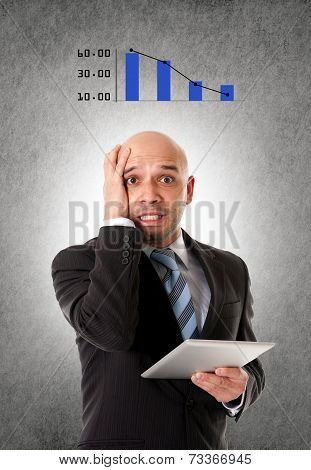 Stressed Bald Hispanic Businessman Holding Tablet In Bad Financial Situation