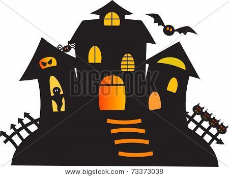 Black Haunted Ghost House Vector
