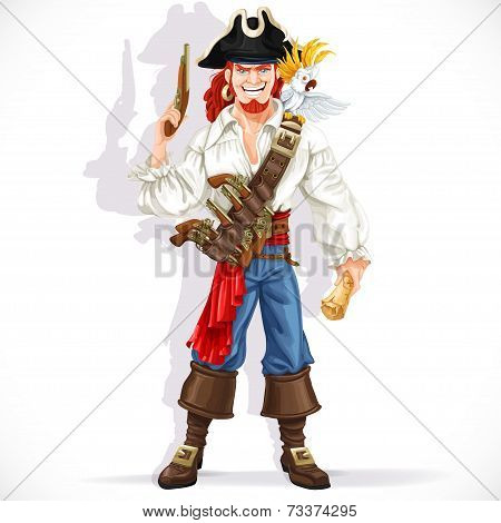 Brave pirate with pistol hold treasure map