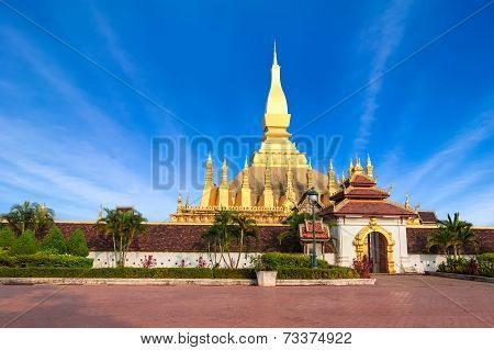 Golden Pagoda Of Phra That Luang Temple. Vientiane, Laos