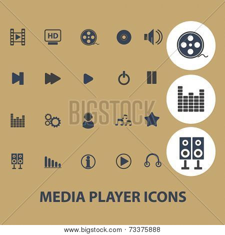 media player, music, interface icons, signs, silhouettes, illustrations set, vector