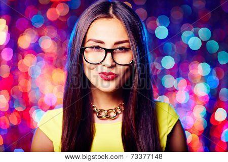 Flirty girl in eyeglasses