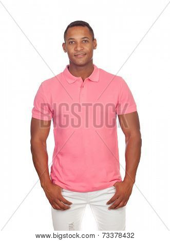 Latin casual men in pink isolated on a white background