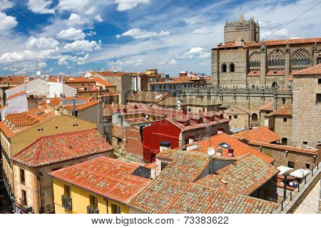 View From The City Wall In Avila, Spain