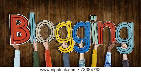 Diverses Hands Holding Blogging