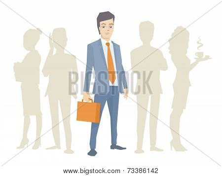 Vector Illustration Of A Portrait Of A Man In A Jacket Lawyer With A Briefcase In His Hand Stands In