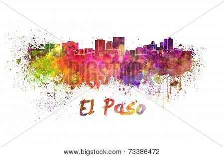 El Paso Skyline In Watercolor