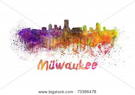Milwaukee Skyline In Watercolor