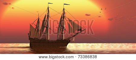 Ship At Sunset