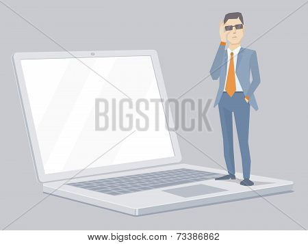 Vector Illustration Of Portrait Of Miniature Analyst Man In A Jacket Hand Holds Glasses Stands On Th