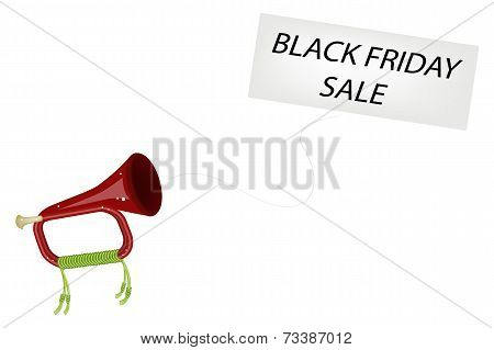 A Musical Bugle Blowing Black Friday Flag
