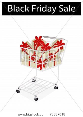 A Shopping Cart on Black Friday Label