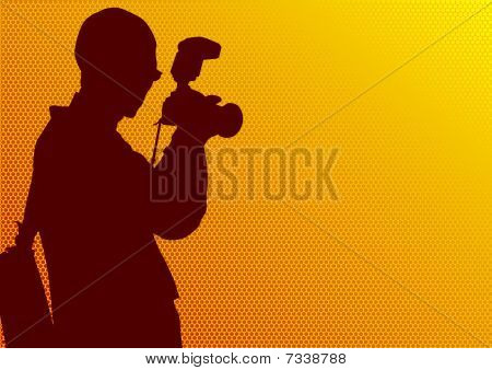 Photographer man on yellow