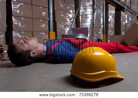 Man On The Floor In Factory
