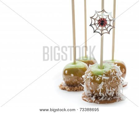 Green caramel apple Halloween treats