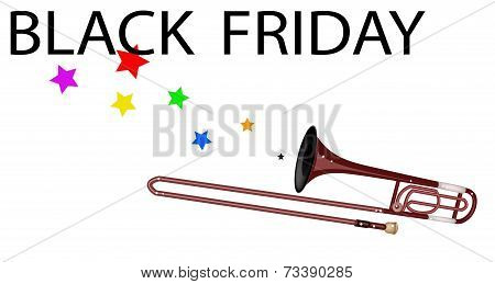 A Symphonic Trombone Blowing Black Friday Flag