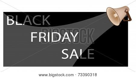 Megaphone Shouting Word Black Friday Sale on White Background