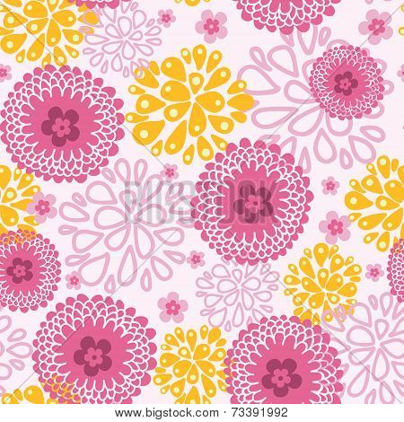 Pink field flowers seamless pattern background