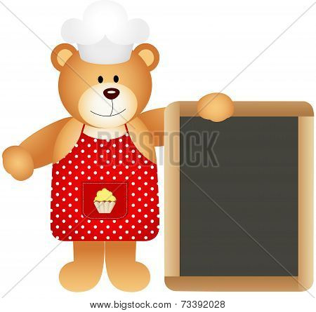 Chef teddy bear with slate board