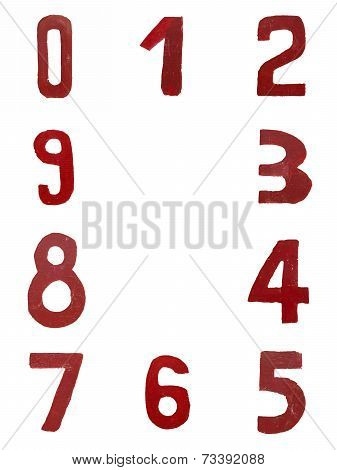 Red handwritten numbers