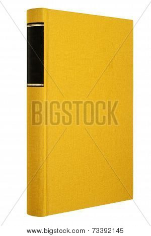 Yellow book isolated on white, black frame for title on the spine